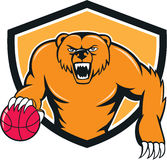 Grizzly Bear Angry Dribbling Basketball Shield Cartoon Royalty Free Stock Photos