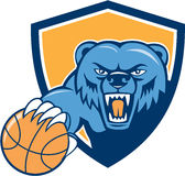 Grizzly Bear Angry Head Basketball Shield Cartoon Royalty Free Stock Photography