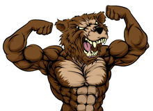 Grizzly Bear Animal Mascot. Showing off his biceps and ready for a fight vector illustration