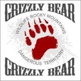 Grizzly Bear footprint emblem - vector Royalty Free Stock Photo