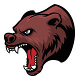 Grizzly bear head. Mascot, suitable as a mascot, sticker, print, t-shirt etc stock illustration