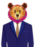 Grizzly bear man in geomeyric pattern Royalty Free Stock Image