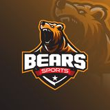 Grizzly bear mascot logo design vector with a modern color concept and badge emblem style for sports team. Angry bear illustration royalty free illustration