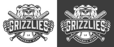 Grizzly bear mascot vintage badge. With crossed baseball clubs in monochrome style isolated vector illustration royalty free illustration