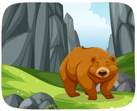 A grizzly bear in nature scene. Illustration stock illustration