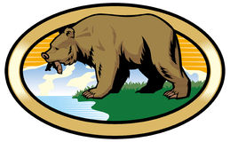 Grizzly bear at the nature royalty free illustration