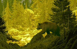 Grizzly Bear in the Rockies. Image from an original 17x27 painting of grizzly bear in the Rocky Mountains. / SW-007 stock illustration