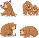 Grizzly bear set 2. Grizzly Brown Bear  illustration cartoon set Stock Photos