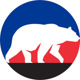 Grizzly Bear Walking Silhouette Circle Retro Stock Image