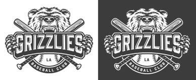 Grizzly niedźwiedzia maskotki rocznika odznaka royalty ilustracja