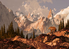 grizzly niedźwiadkowa góra ilustracji