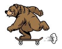 Grizzly niedźwiedź jedzie deskorolka ilustracji