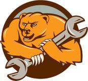 Grizzly niedźwiedzia mechanika Spanner okręgu kreskówka ilustracji