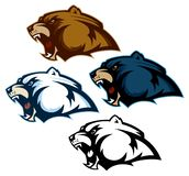 Grizzly, Polar, and Black Bear Head Mascots stock illustration