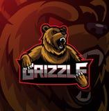 Grizzly sport mascot logo design vector illustration