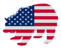 Grizzly in stars and stripes Royalty Free Stock Image