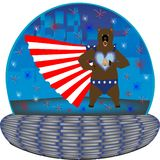 Grizzly super hero in a magic 4th July globe Stock Photo