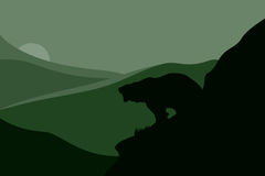 Grizzly vector. Bear silhouette against mountain slopes illustration Royalty Free Stock Image