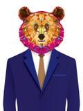 Grizzlymens in geomeyric patroon royalty-vrije illustratie