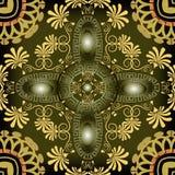 Grków kluczowych meanderów kwiecisty 3d wektorowy bezszwowy wzór Nowożytny abs fotografia royalty free