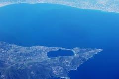 Grka wybrzeża samolotu widok zdjęcie stock