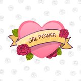 GRL power. Feminism sign. Vector. Pink heart with flowers and ribbon. Stock Image