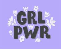 GRL PWR dziewczyny władza Ręka rysujący literowanie zwrot o feminizmu obraz royalty free
