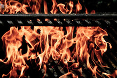 Grlling Flames. Flames engulf charcoals as they dance in a grill that is being heated for a BBQ Stock Photo