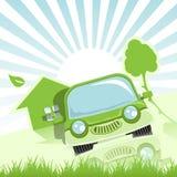 Grön bil Arkivbild
