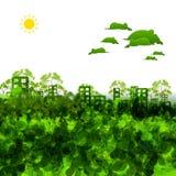 Grön ecostadillustration Royaltyfri Bild