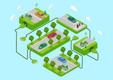 Grün-Energiekonzept eco Elektroauto des flachen Netzes 3d isometrisches Stockfoto