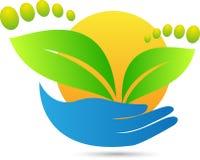 Grön fottryckomsorg Arkivbild