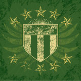 grön grungesköld Arkivfoto