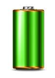Grön isolerad energibattericell Fotografering för Bildbyråer