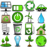 Grön miljösymbolsuppsättning Royaltyfria Bilder