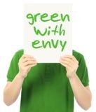 Grün mit Neid Stockbild