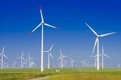 Grön äng med vindturbiner Arkivbilder