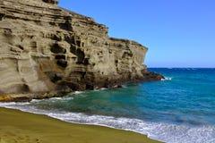 Grön sandstrand, stor ö, Hawaii Arkivfoton
