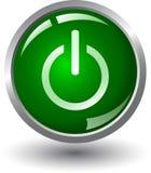 grön ström för knapp Royaltyfri Fotografi