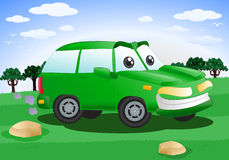 Grön SUV bil Arkivbild