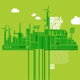 grön town för eco Fotografering för Bildbyråer