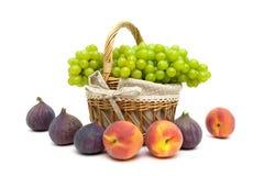 Gröna druvor i en korg, persikor och fikonträd på en vit bakgrund Fotografering för Bildbyråer