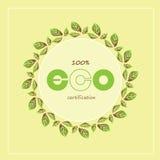 Gröna ecoetiketter och emblem också vektor för coreldrawillustration Royaltyfria Bilder