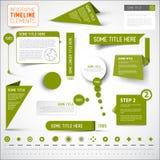 Gröna infographic timelinebeståndsdelar/mall Arkivfoto
