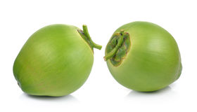 Gröna kokosnötter på vit bakgrund Royaltyfri Fotografi