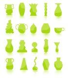 gröna krukar för blomma Arkivfoto