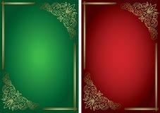 Gröna och röda bakgrunder med den guld- dekoren Arkivbild
