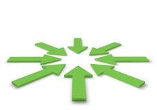 Gröna pilar i illustrationen 3D Arkivfoton