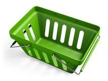 Gröna tomma shoppar korg 2 Royaltyfri Bild