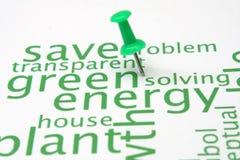 Grüne Energiewortwolke Lizenzfreie Stockbilder
